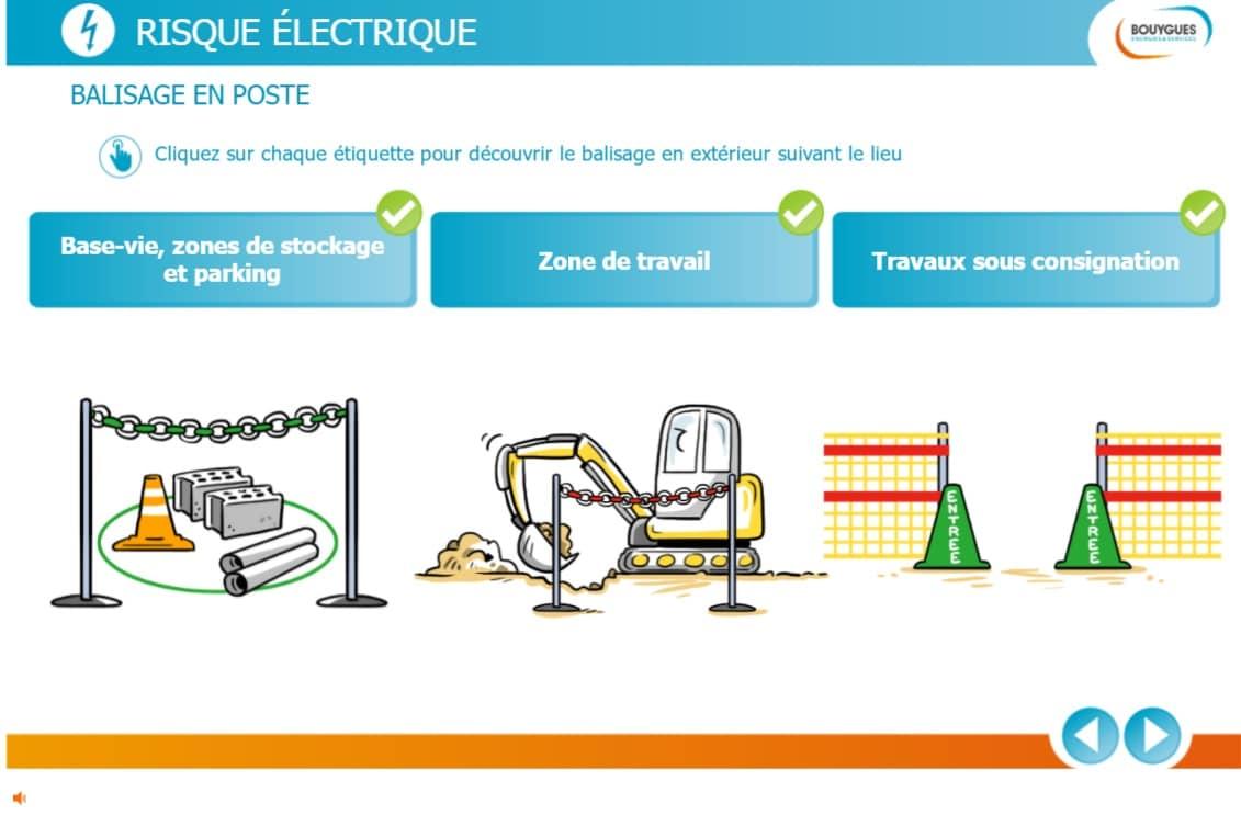 Module elearning sur mesure Bouygues Risque électrique
